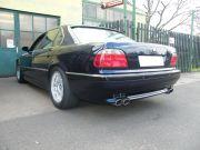 BMW 740i hátsó tuning kipufogó dobok dupla ovál rozsdamentes díszvéggel