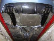 BMW E60 530i tuning kipufogó hátsó dob, középső dob csövekkel két oldalt kivezetve