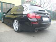BMW F11 535i twin turbo tuning kipufogó hátsódobok egyedi saválló díszvéggel