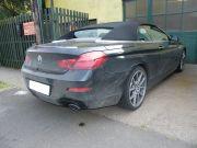 BMW F12 640i twin turbo sportkipufogó hátsó dobok saválló kerek díszvéggel