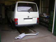 Volkswagen caravelle hátsó kipufogó dob csere a gyári rozsdamentes vegekkel